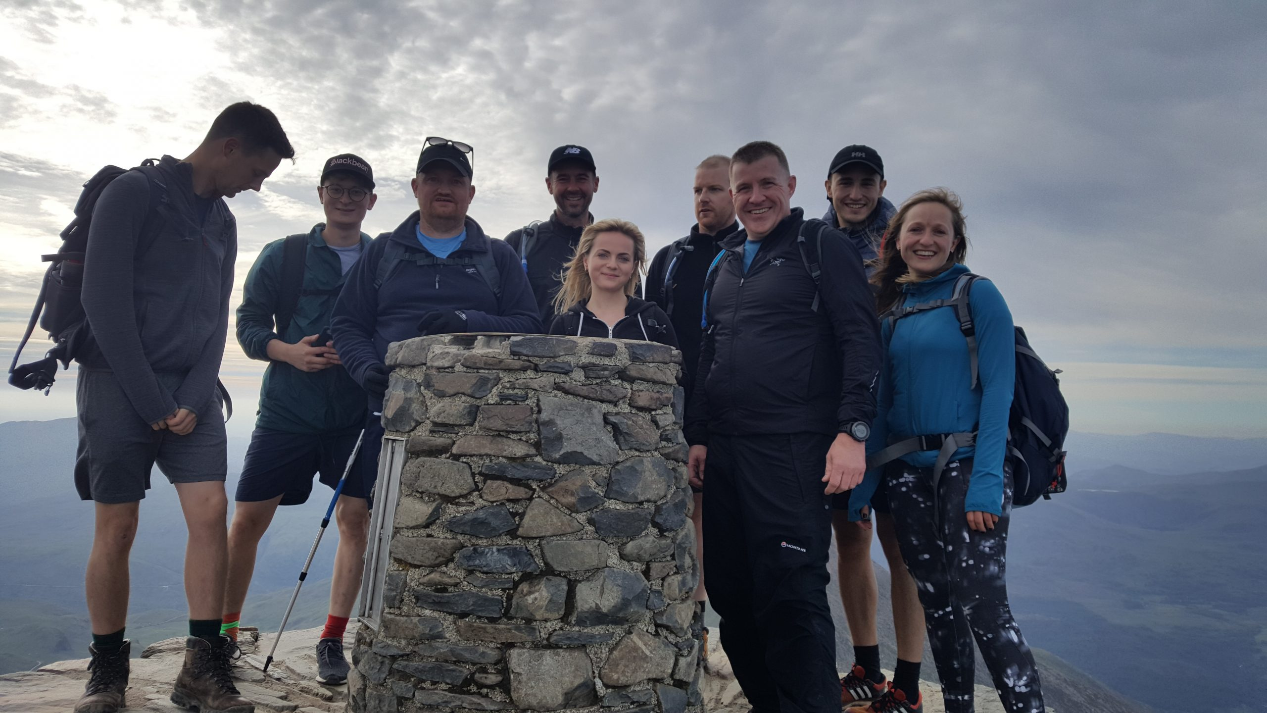 Snowdon summit with a group on a 3 peaks event