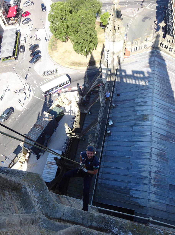 Abseil on top of Bath Abbey