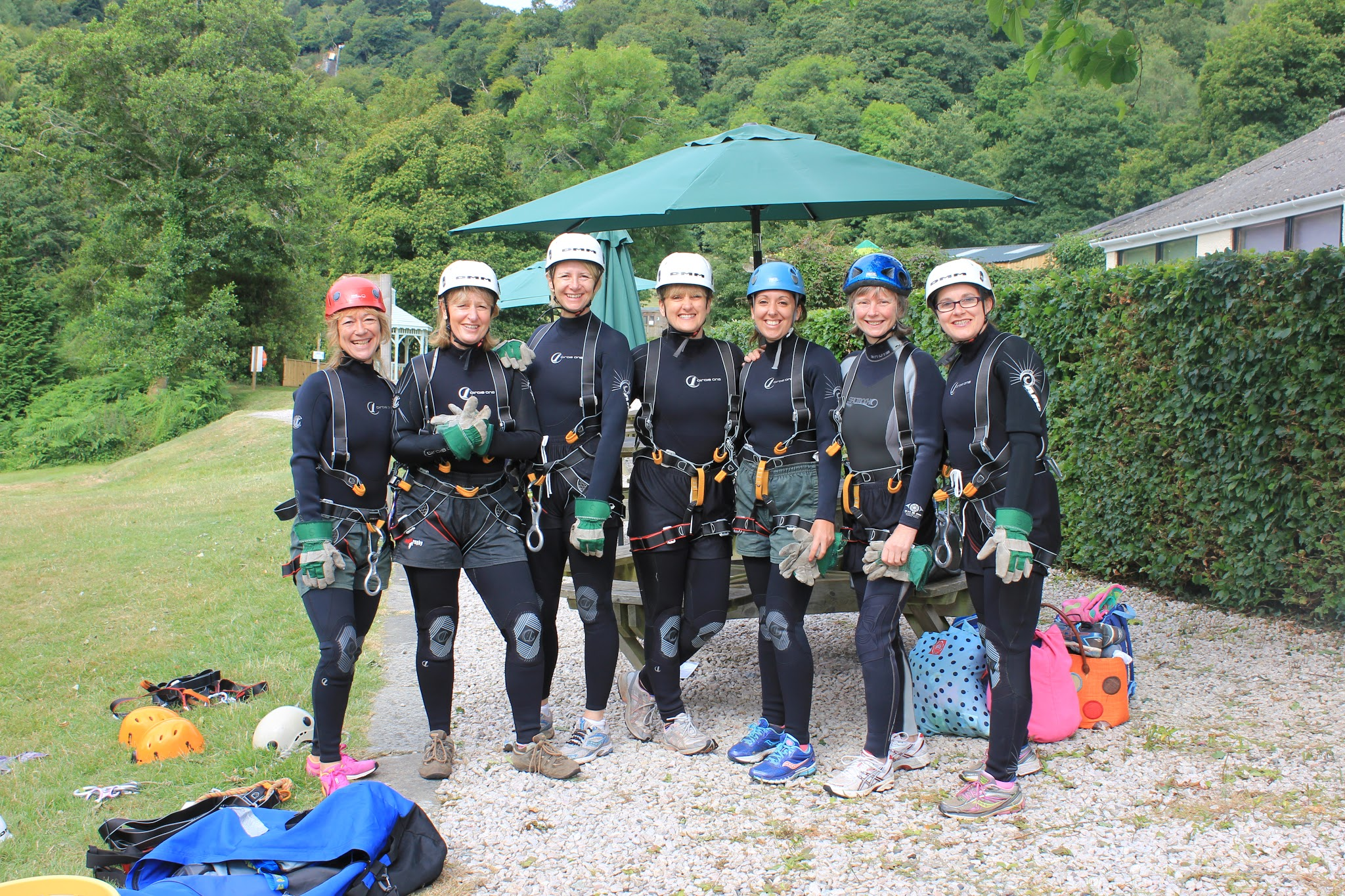 Kitted up and ready to go abseiling at Canonteign Falls