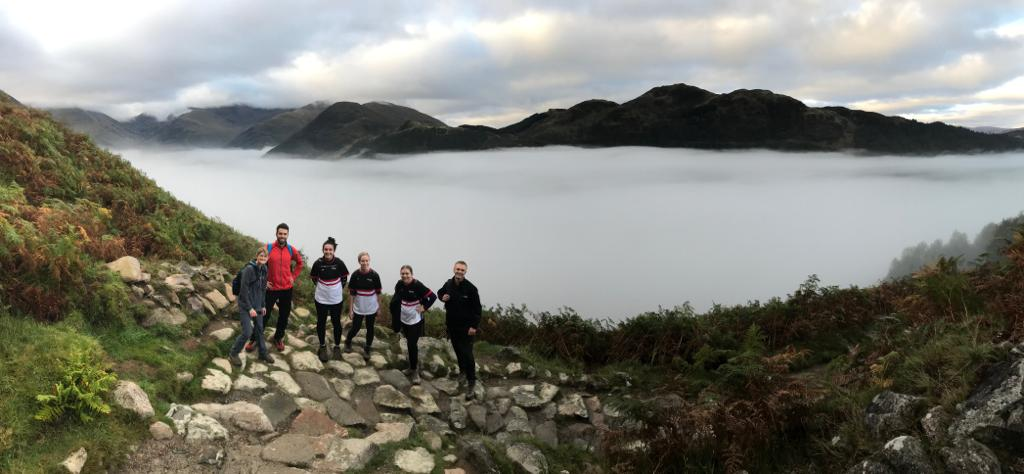 Descending back into the clouds on the national 3 peaks challenge