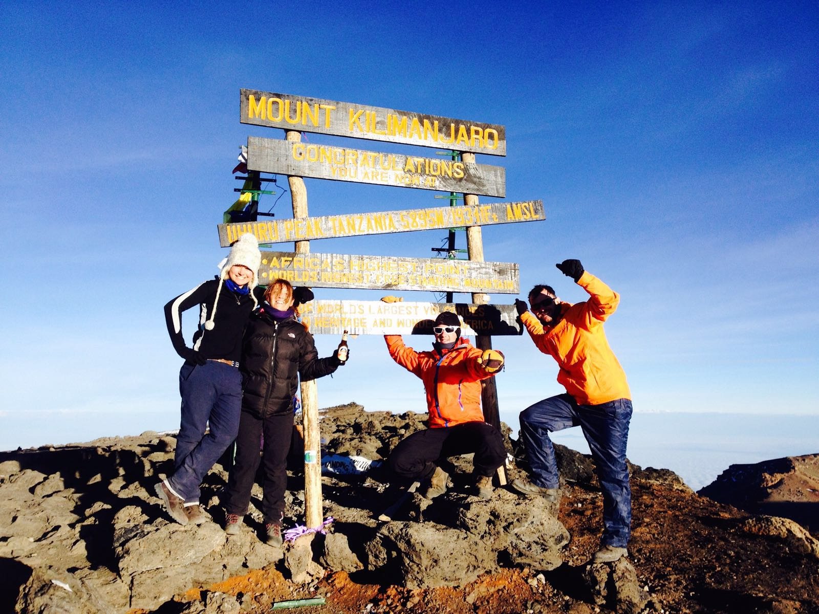 Group on the summit of Kilimanjaro on an adventure challenge